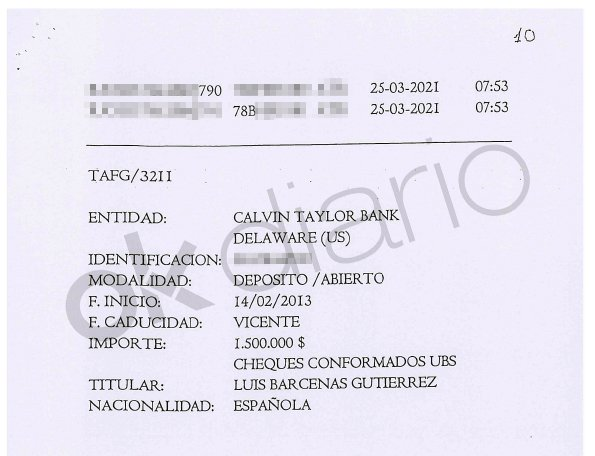 The National Court investigates six deposits paid to an account in the name of Luis Bárcenas at Calvin Taylor Bank in the US tax haven Delaware.