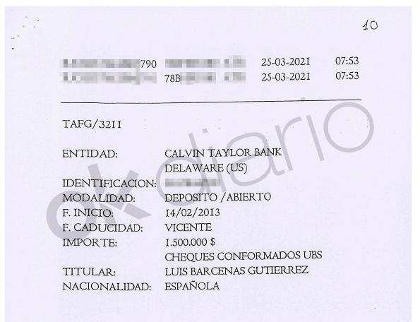 La Audiencia Nacional investiga seis depósitos abonado a una cuenta a nombre de Luis Bárcenas en el Calvin Taylor Bank en el paraíso fiscal estadounidense Delaware.