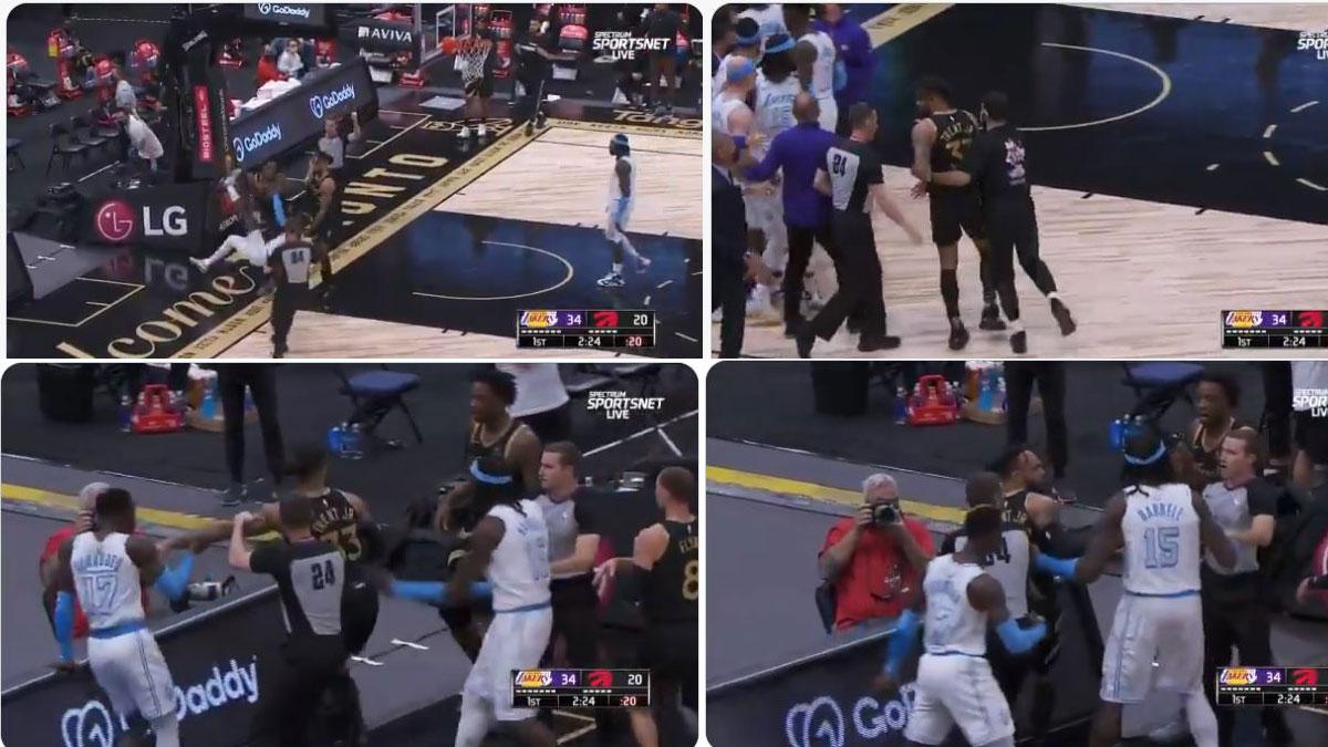 Tangana durante el Raptors – Lakers de la NBA (Twitter)