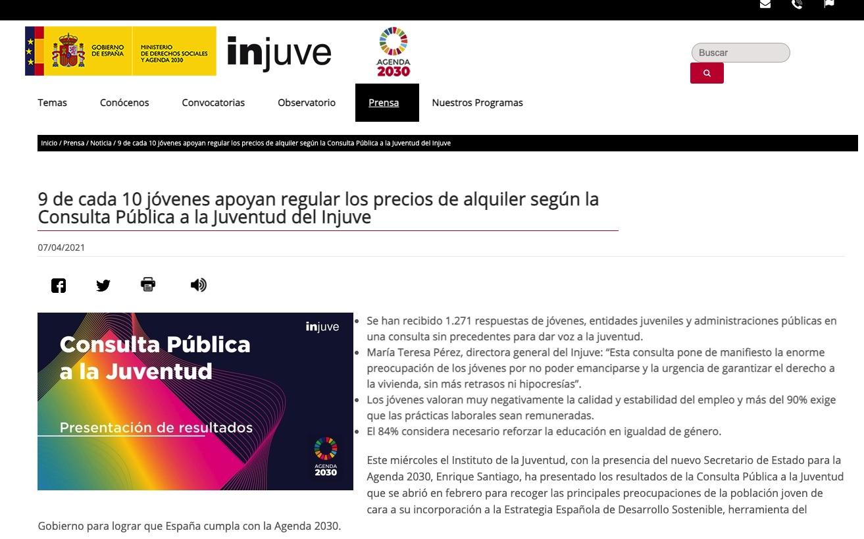 Web del Ministerio de Ione Belarra.
