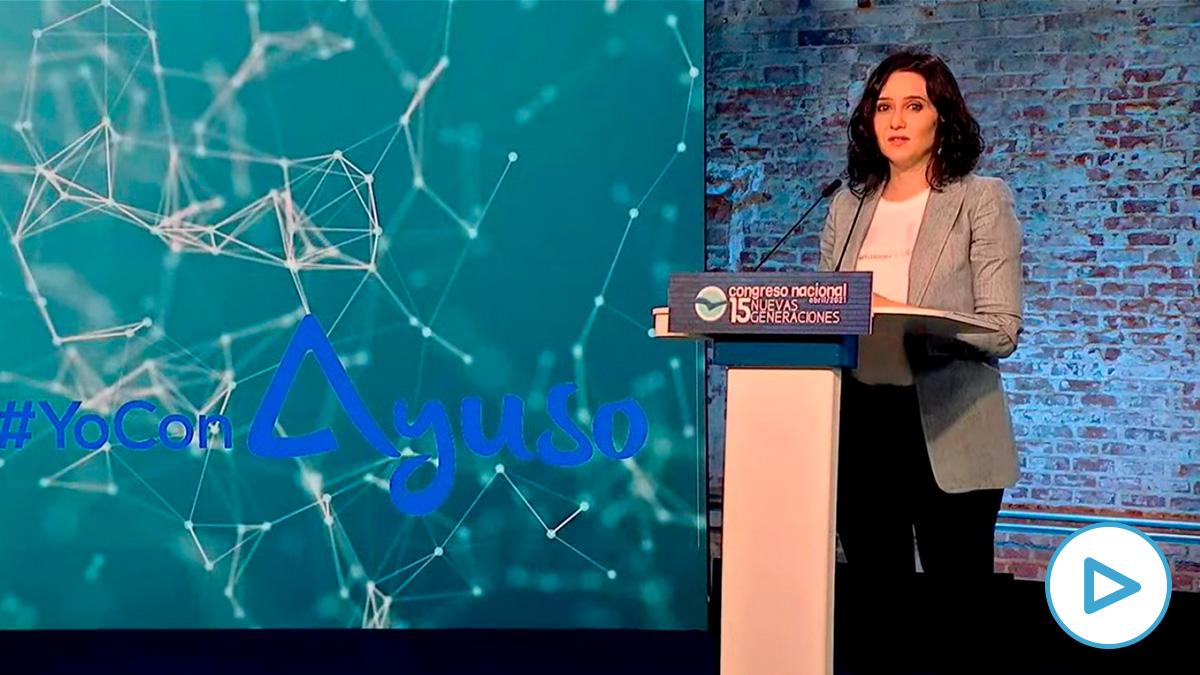 Isabel Díaz Ayuso en el Congreso de Nuevas Generaciones del PP.