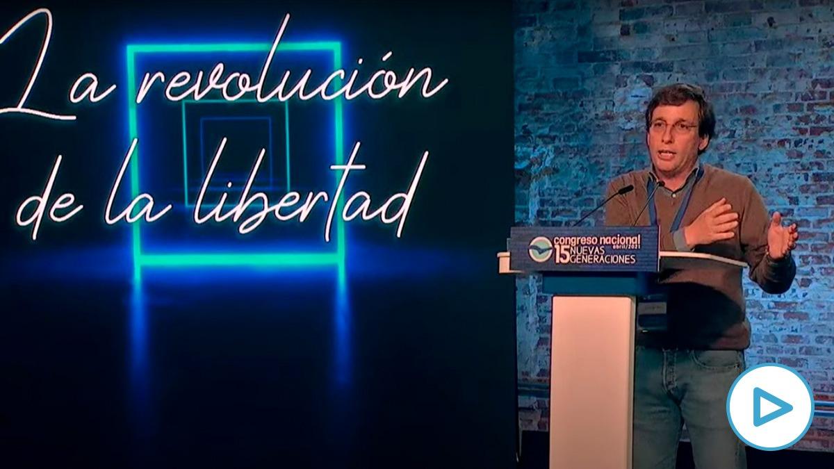 El alcalde de Madrid, Jose Luis Martínez Almeida, en la clausura del XV Congreso de NNGG.
