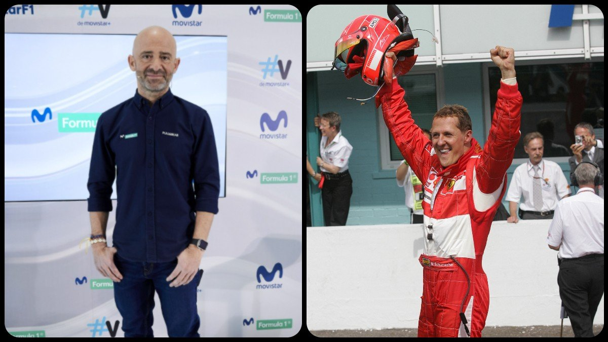 Antonio Lobato y Michael Schumacher. (AFP)