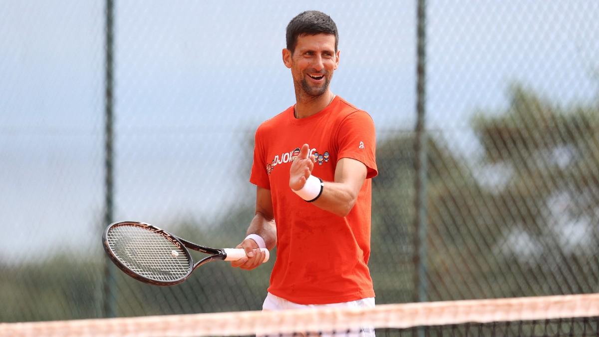 Novak Djokovic, entrenando en Montecarlo. (Getty)