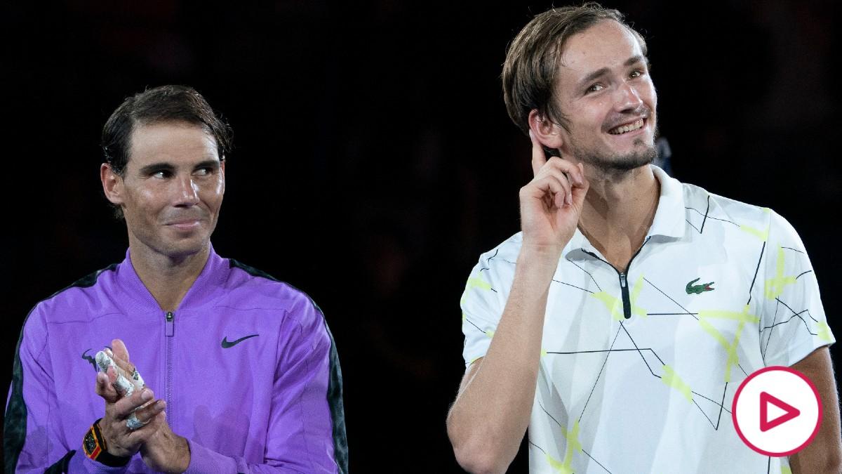 Rafa Nadal y Medvedev, en la final del US Open. (AFP)