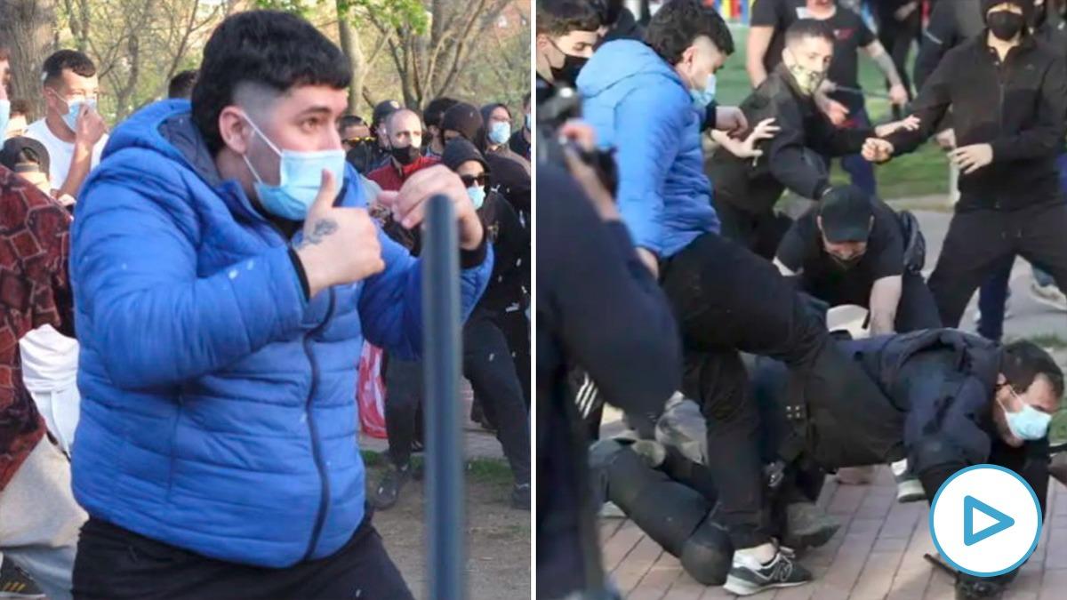 La Policía ya ha llevado ante el juez al joven detenido por patear a un policía en el mitin de Vox en Vallecas.