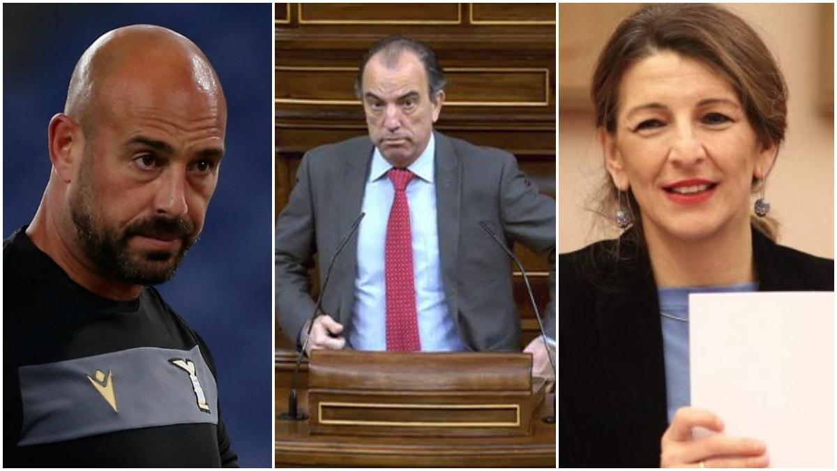 Pepe Reina, García Adanero y Yolanda Díaz.