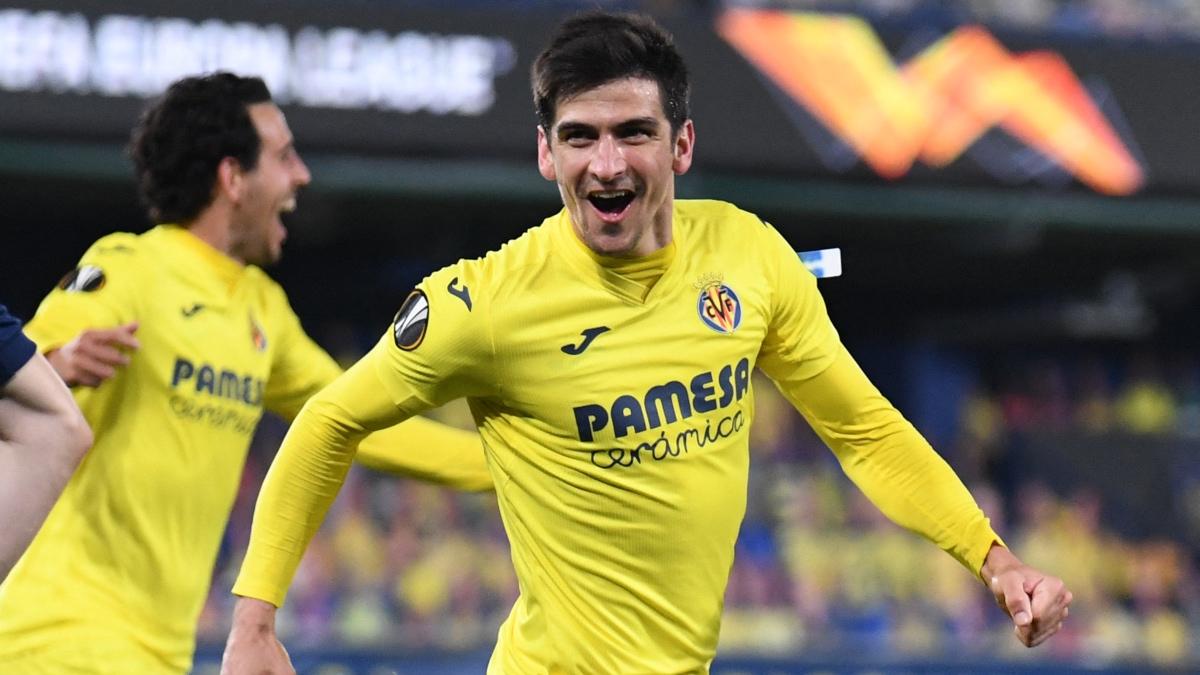 Gerard Moreno celebra uno de los goles del Villarreal ante el Slavia de Praga. (AFP)