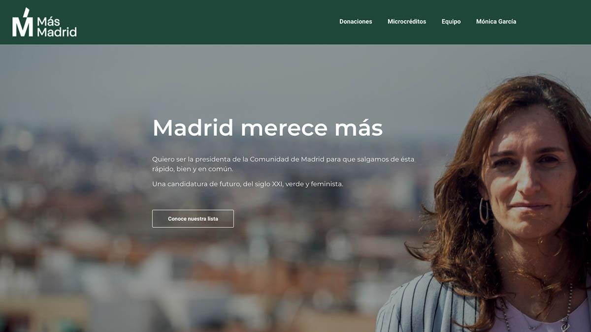 Página web de Más Madrid, partido liderado por Mónica García