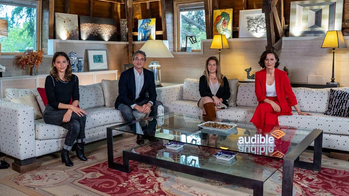 Los narradores Irene Escolar, Juan Baixeras, Gloria Tarridas, Aitana Sánchez-Gijón que forman parte de Audible en una mesa redonda organizada por la plataforma de Amazon.