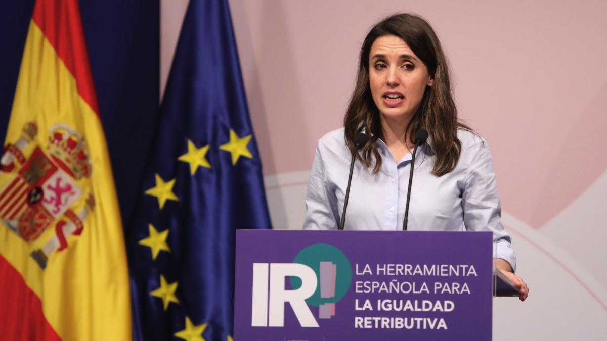 La ministra de Igualdad, Irene Montero, interviene durante la presentación de la herramienta de igualdad retributiva. (Foto: Marta Fernández / Europa Press)