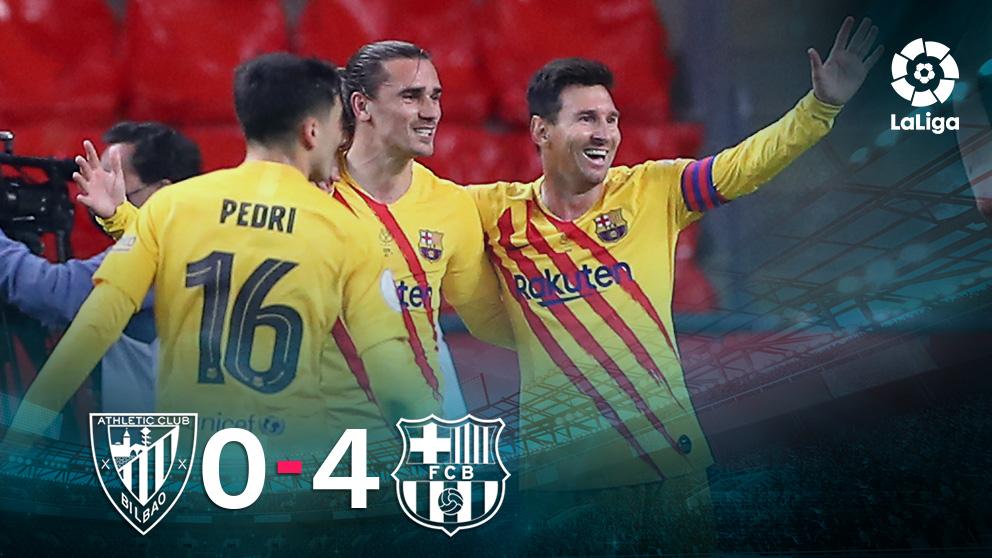 El Barcelona goleó 4-0 al Athletic en la final de la Copa del Rey.