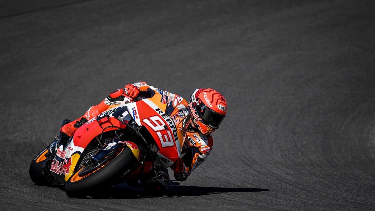 Marc Márquez durante la clasificación del GP de Portugal de MotoGP. (AFP)