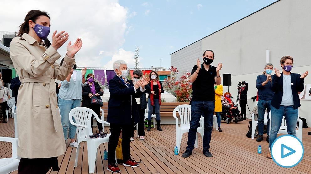 Irene Montero y Pablo Iglesias en un acto de precampaña. Foto: EP