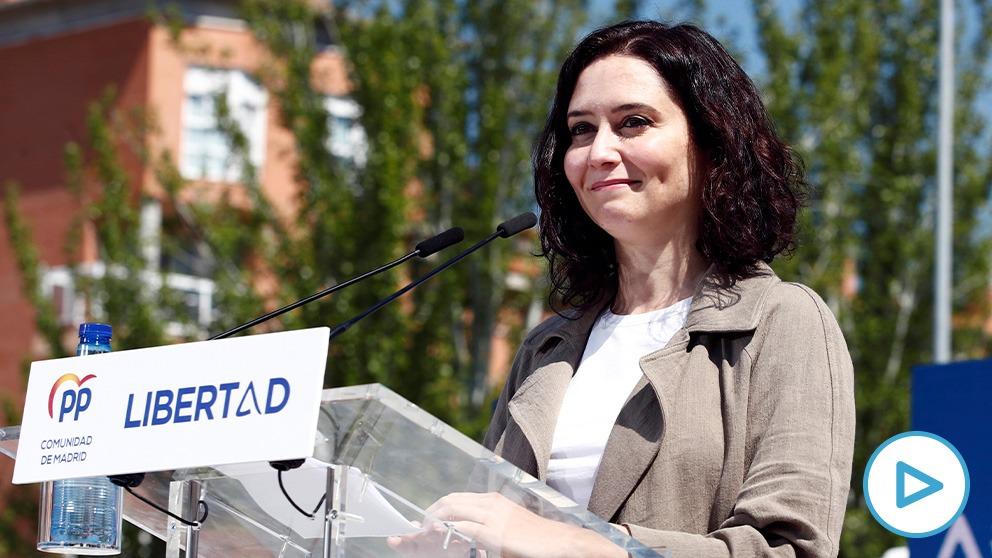 La presidenta de la Comunidad de Madrid, Isabel Díaz Ayuso, este domingo en un acto en Las Rozas. (Foto: Efe)