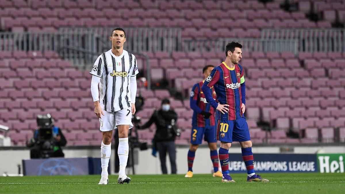 Cristiano Ronaldo y Lionel Messi. (Getty)