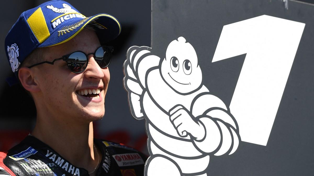 Fabio Quartararo celebra su victoria en el GP de Portugal de MotoGP. (AFP)
