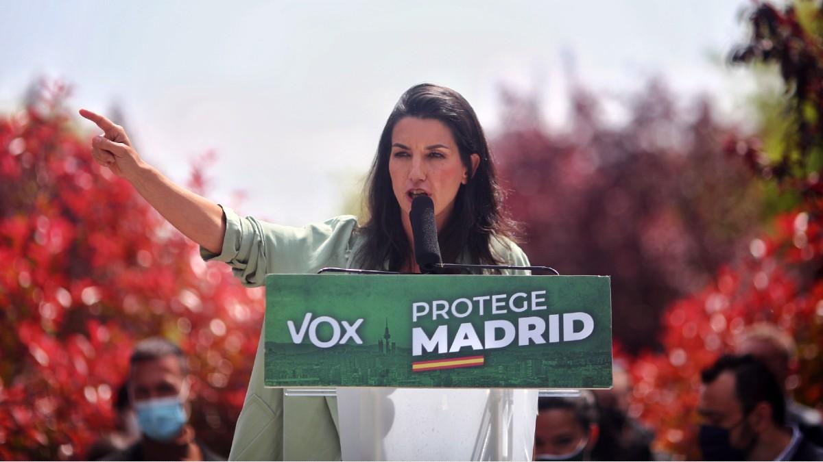 La candidata de Vox a la Presidencia de la Comunidad de Madrid, Rocío Monasterio, durante un mitin. (Foto: Europa Press)