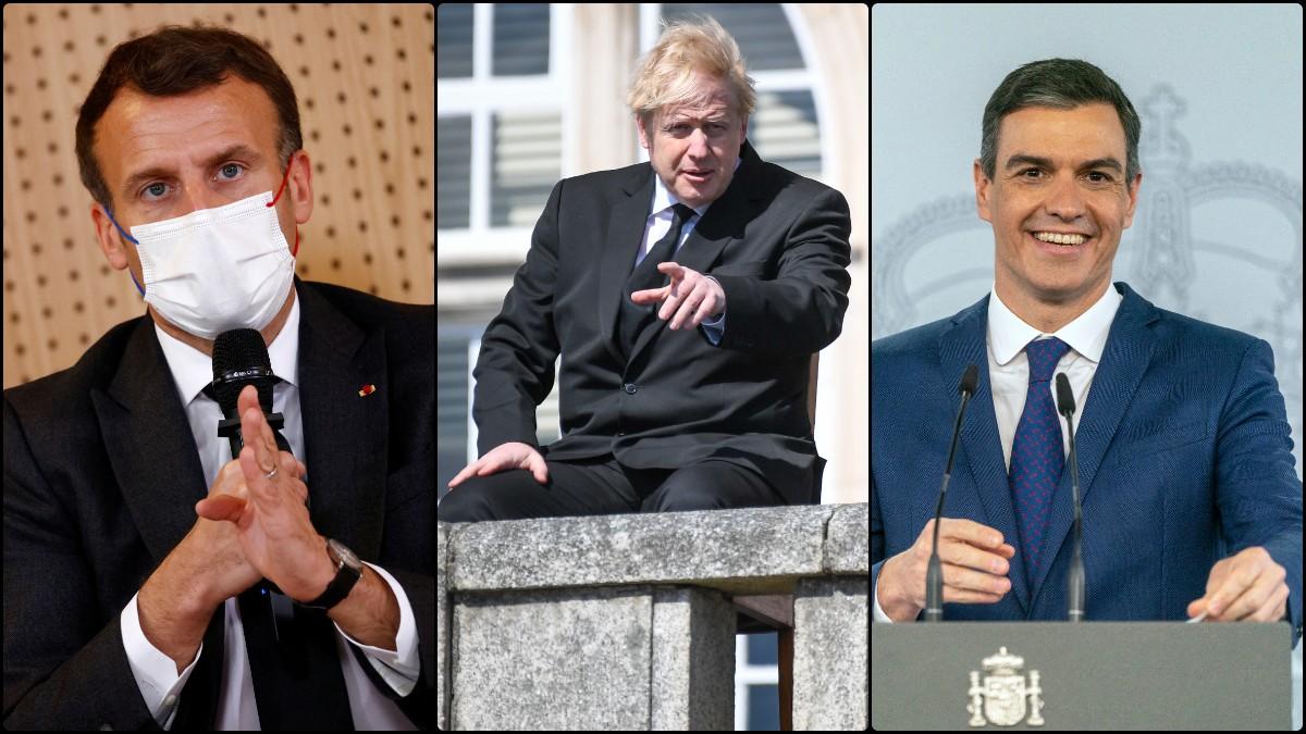 Emmanuel Macron, Boris Johnson y Pedro Sánchez.