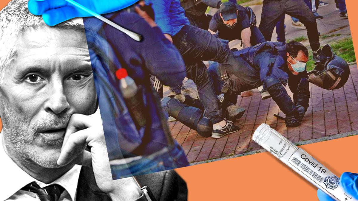 Pese a los 'contactos estrechos' de los policías agredidos en el mitin de Vox, Interior no accede a realizarles pruebas diagnósticas de Covid.