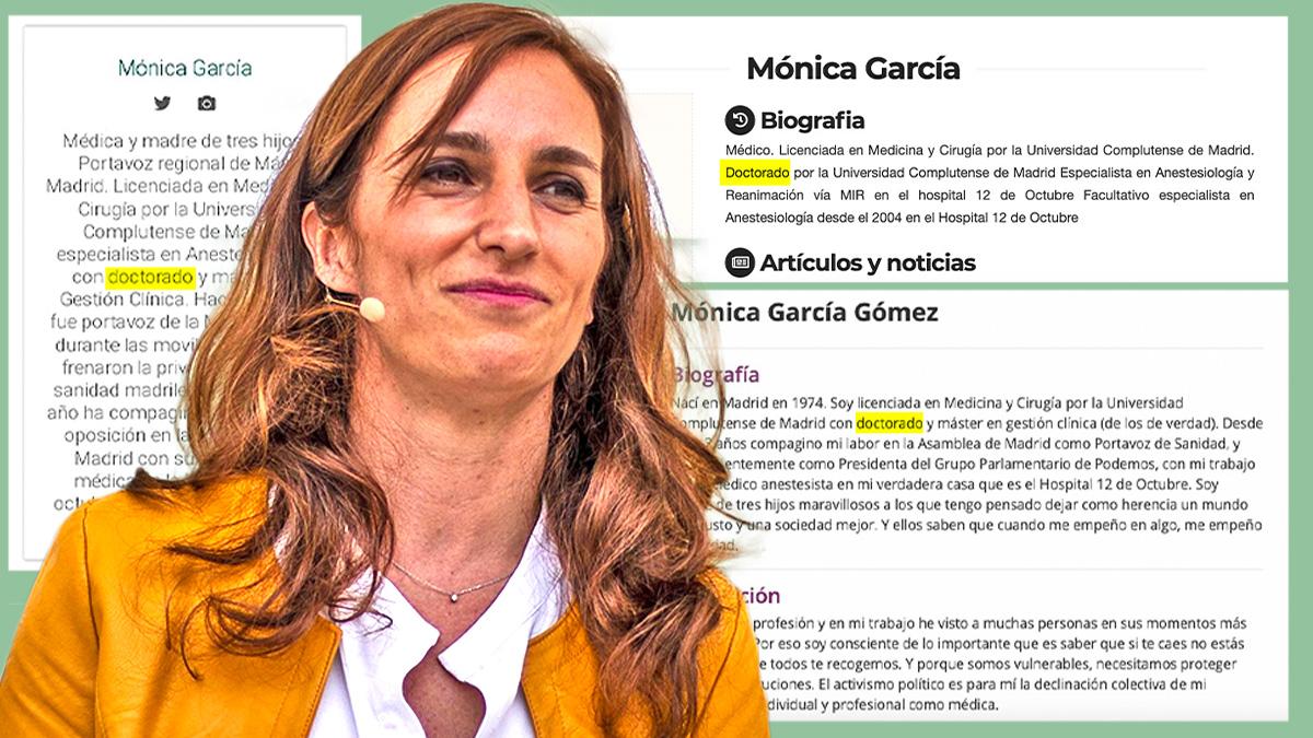 Tres biografías web de Mónica García estando en Podemos y Más Madrid con el «doctorado» que no tiene.