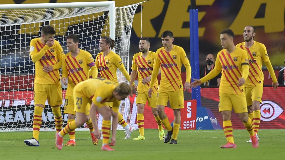 El Barcelona durante la final de Copa contra el Athletic. (AFP)