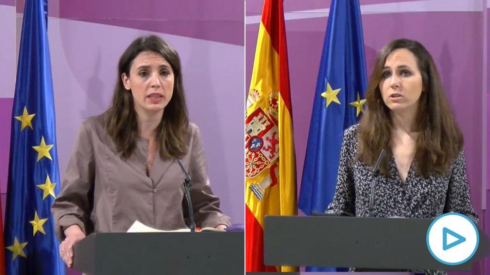 Las ministras Irene Montero e Ione Belarra este miércoles en rueda de prensa telemática.