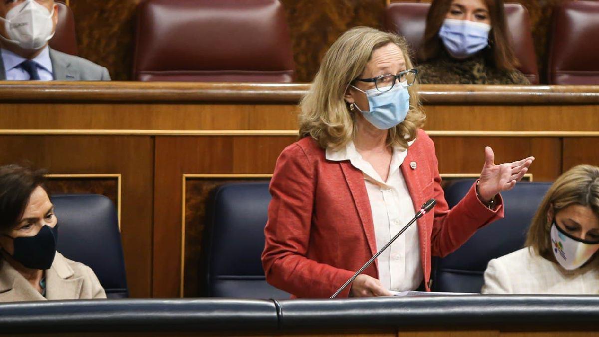Nadia Calviño, en el Congreso de los Diputados