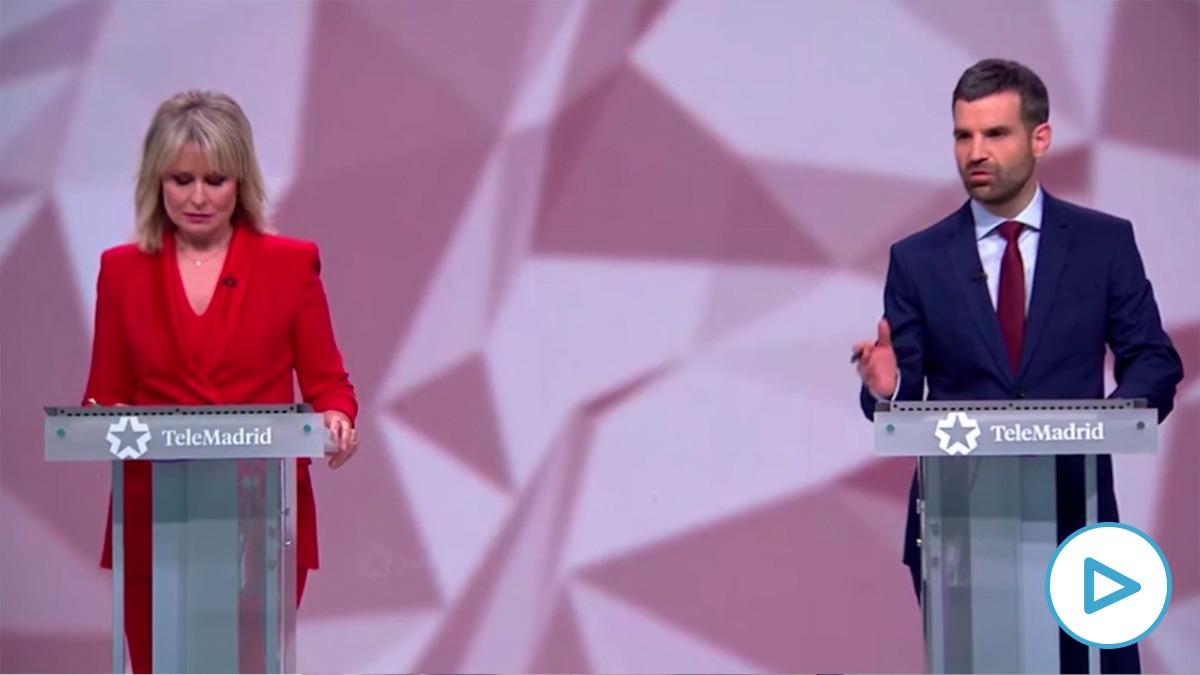 María Rey y Jon Ariztimuño, moderadores del debate en Telemadrid.
