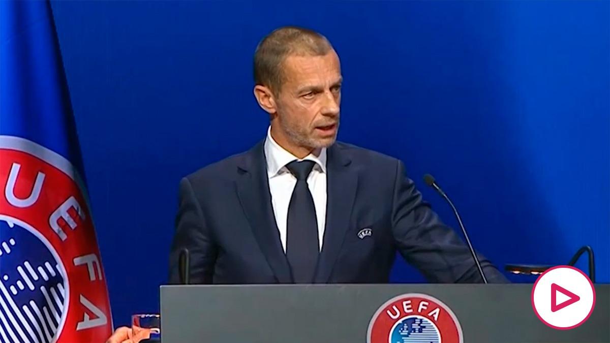 Ceferin, en su discurso más reciente ante la UEFA.