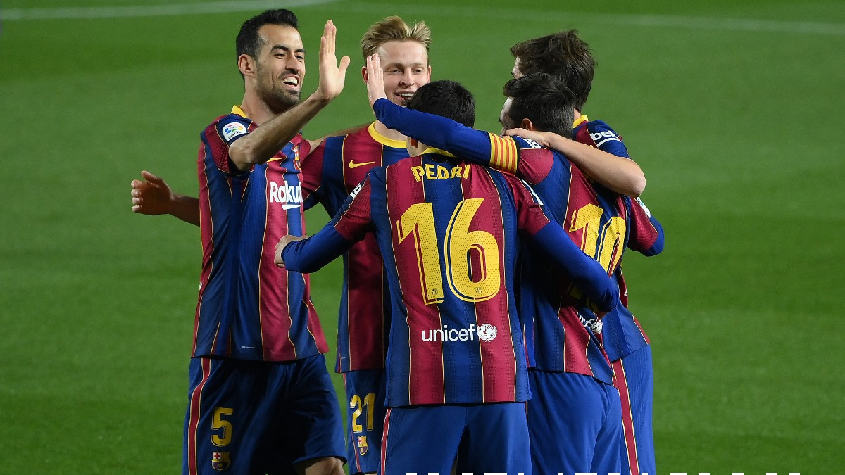 Los jugadores del Barcelona celebran un gol. (AFP)