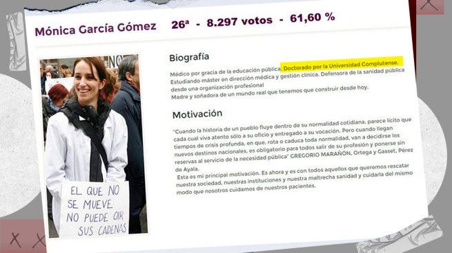 Mónica García entró en política en 2015 falsificando su currículum con el doctorado que no tiene