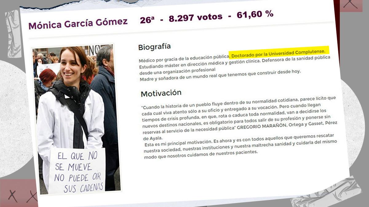 Mónica García, candidata de Más Madrid al 4-M, falseó su primera biografía en política en 2015.