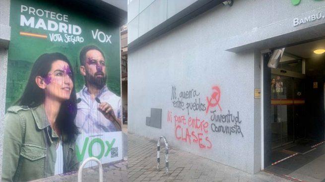 Los comunistas atacan la sede de Vox: «Ni guerra entre pueblos ni paz entre clases»