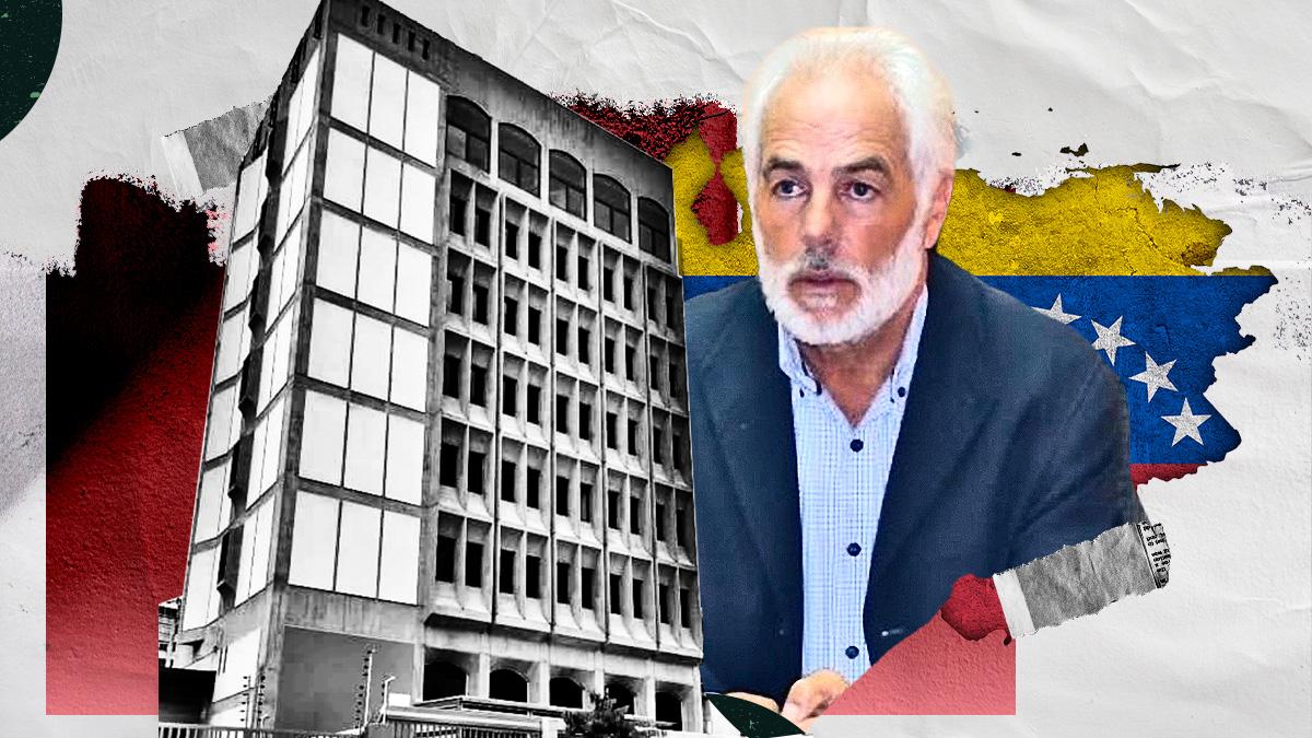 El consejero de Trabajo de la Embajada de España en Caracas, José Francisco Armas, junto a la nueva sede de la Fundación España Salud (FES).