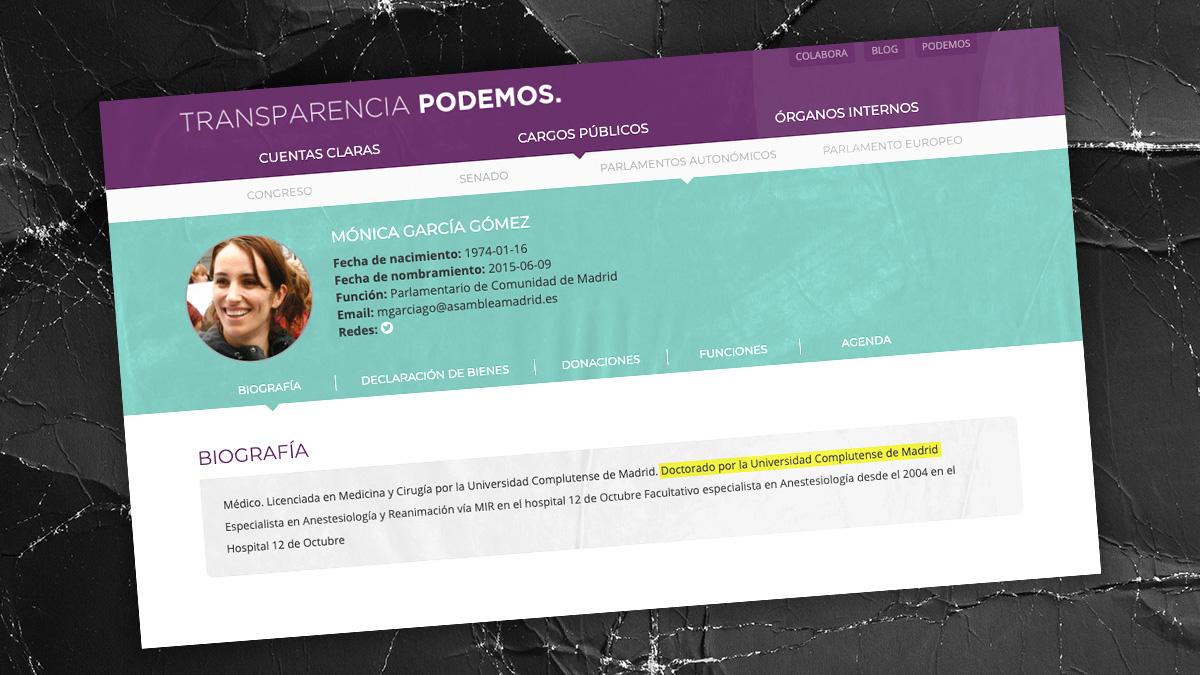 Biografía de Mónica García en el portal de Transparencia de Podemos con el doctorado 'fake'.