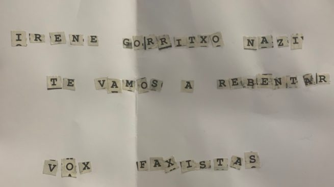 Una candidata de Vox recibió una carta de amenaza el mismo día que Iglesias: «Nazi, te vamos a reventar»