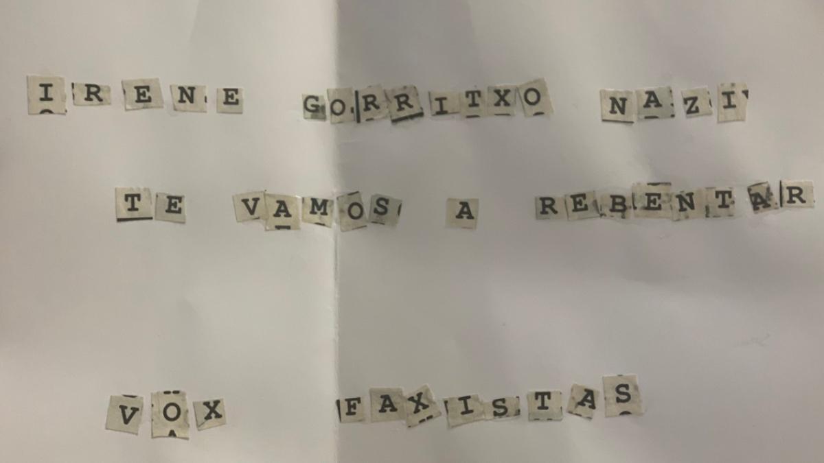 La amenaza que recibió la candidata de Vox en Pamplona, Irene Gorricho.