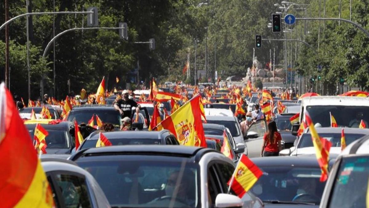 Caravana organizada por Vox en mayo de 2020 en Madrid.