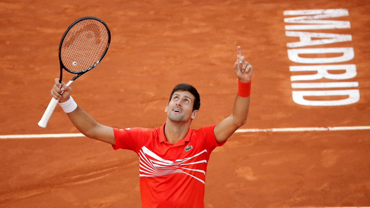 Djokovic celebra su victoria en el Mutua Madrid Open en 2019 (Getty)