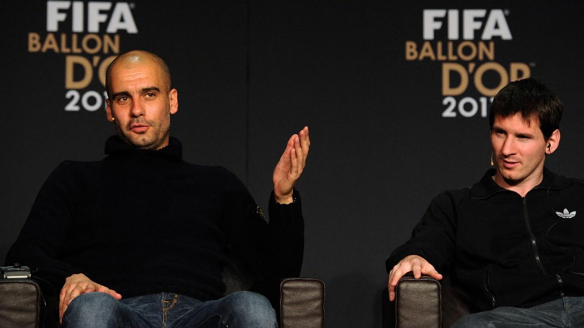 Guardiola, en rueda de prensa con Messi. (AFP)
