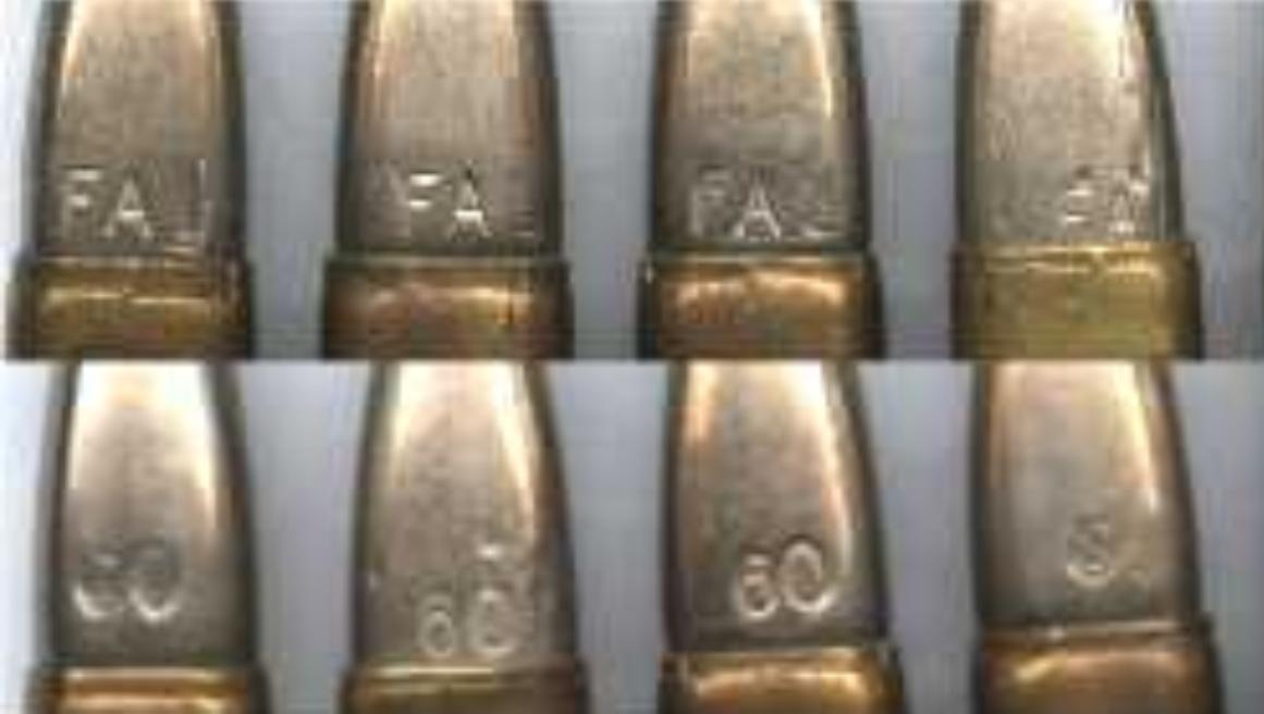 Marcas de identificación en algunas balas del calibre 7,62.