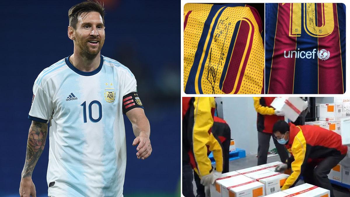 Messi, durante un partido con Argentina (Getty/Twitter)
