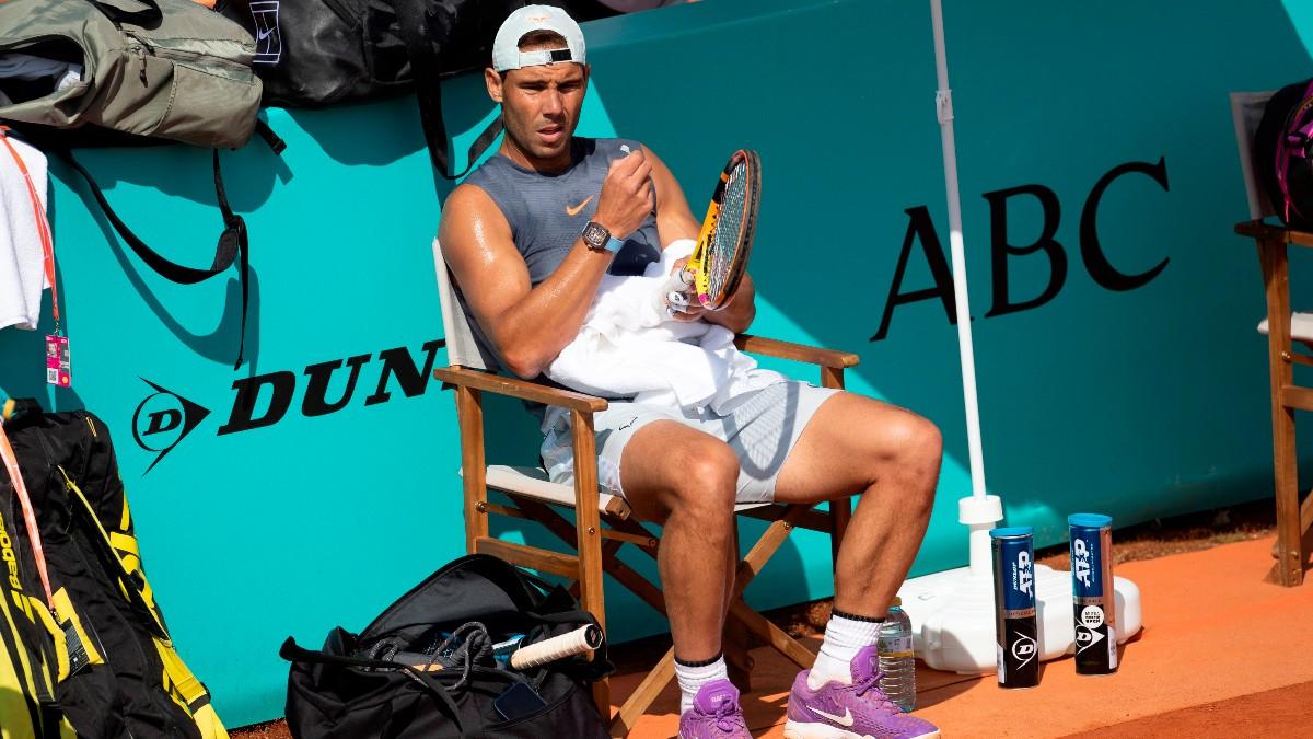 Rafa Nadal durante un entrenamiento en el Mutua Madrid Open. (EFE)