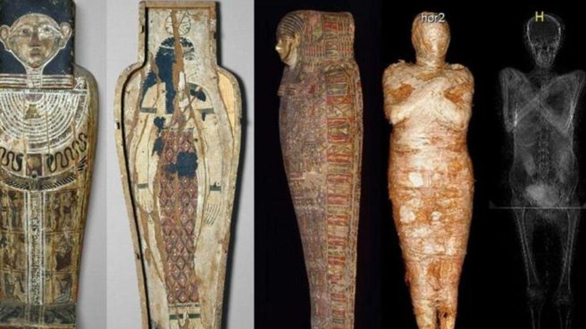 En el escaneo de la derecha se puede ver el feto dentro de la momia (Proyecto de Momias de Varsovia)