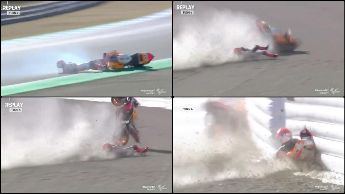 Marc Márquez se ha caído en el warm up previo al GP de España de MotoGP.