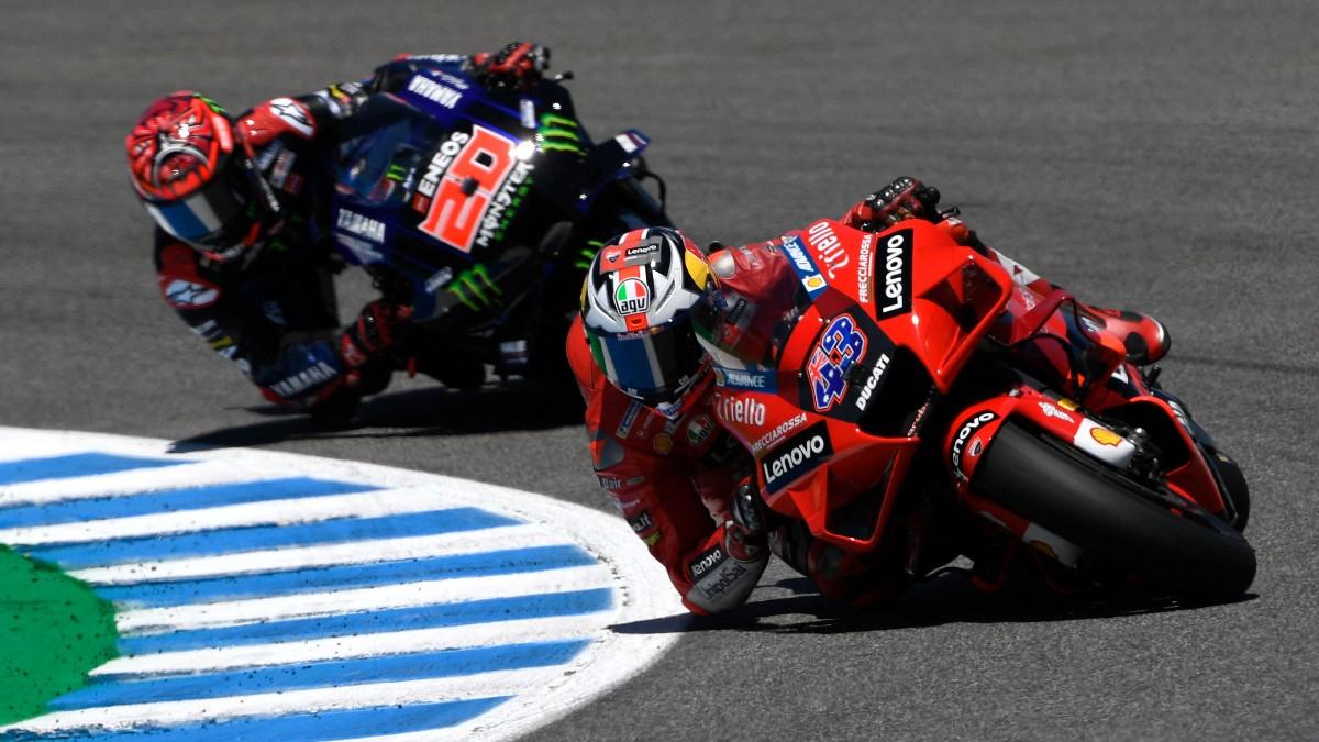 Jack Miller y Fabio Quartararo durante el GP de España de MotoGP. (AFP
