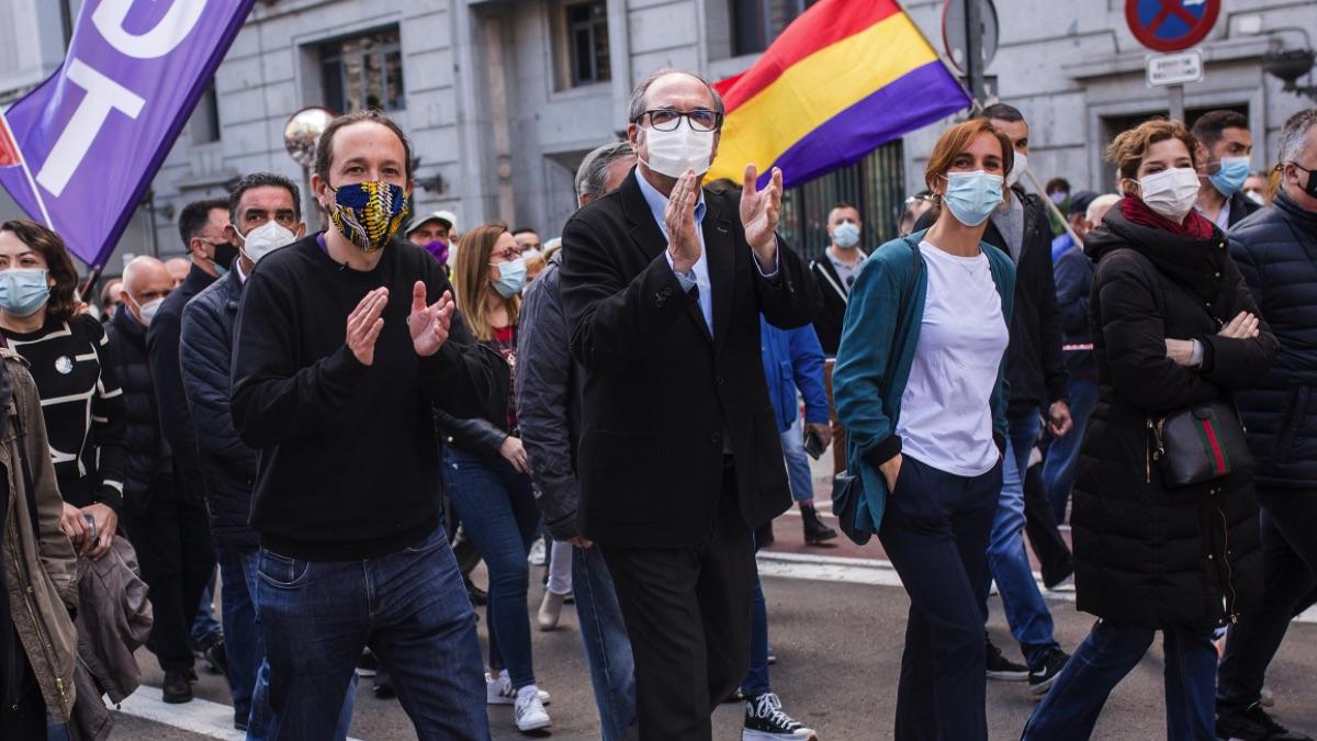 Pablo Iglesias, Ángel Gabilondo y Monica García. (Foto: Europa Press)
