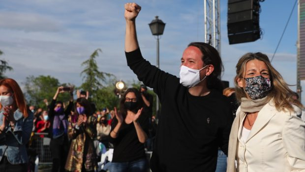 Pablo Iglesias en el ceirre de campaña en Vicálvaro. (Foto: EP)