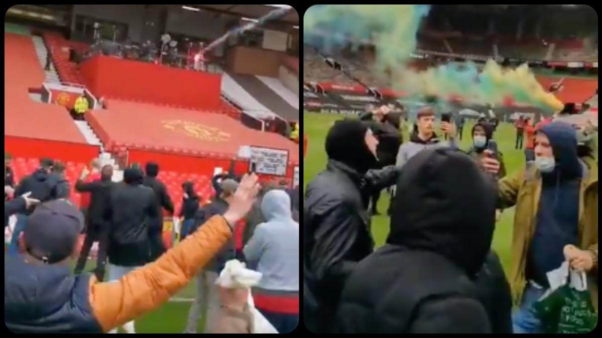 Los aficionados del United, en Old Trafford. (Twitter)
